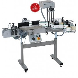 Labelling machine w/1 dispenser for round jars